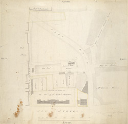 [Drawn plan of peerless pool and the ground let for building the New St Luke's Hospital in Old Street Road]
